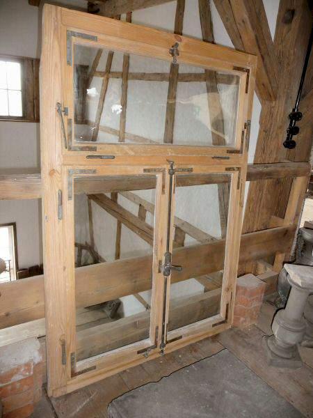 Holzfenster mit gewölbtem Glas, ca. 148 x 104 cm - 490 ...