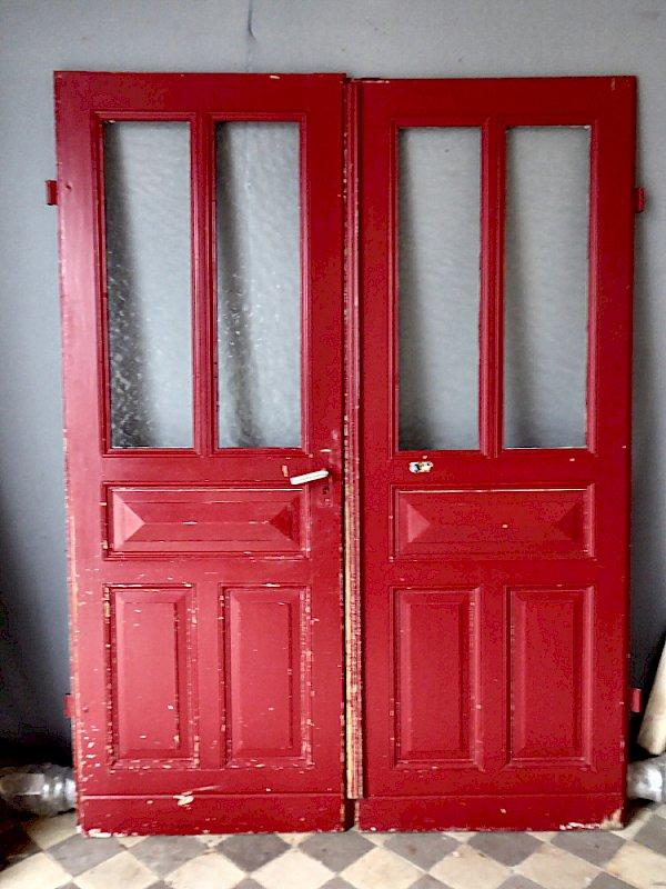Super Altbau Wohnungstür zweiflügelig mit großem Glasanteil, DIN rechts EN47