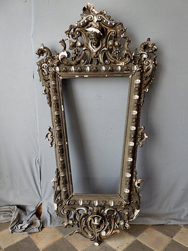 antiker barocker rahmen f r bild oder spiegel mit engel und drachen. Black Bedroom Furniture Sets. Home Design Ideas