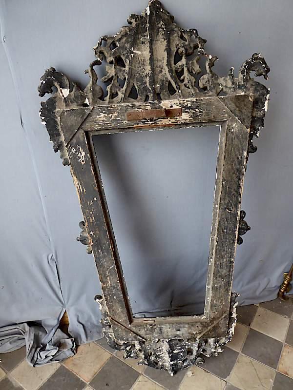 Antiker, barocker Rahmen für Bild oder Spiegel, mit Engel und Drachen